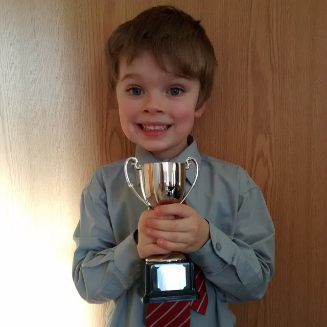 Clever boy! Won the achiever's cup at school today. ProudMummy