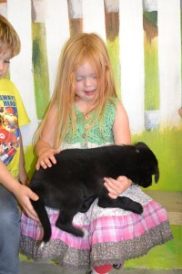 Holding puppies at the Big Sheep