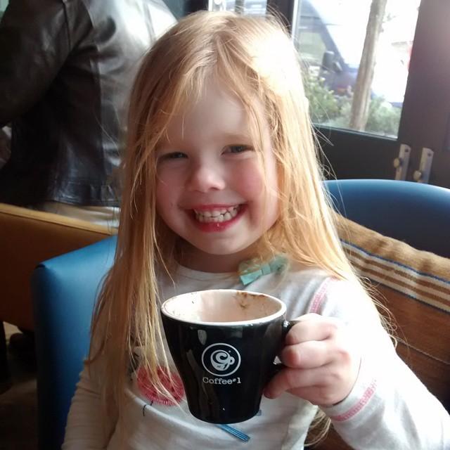 Having a baby hot chocolate at @coffeenumber1 #NewtonAbbot