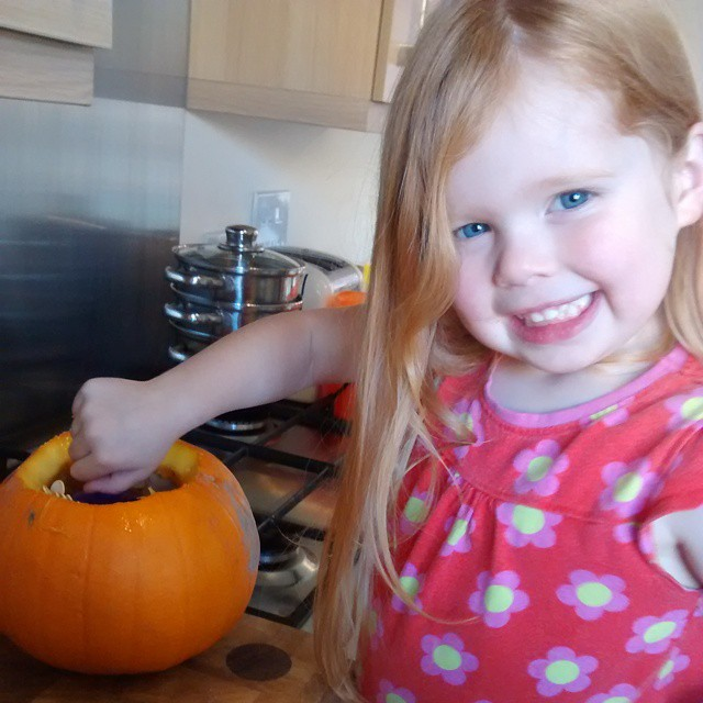 Emptying out her #pumpkin