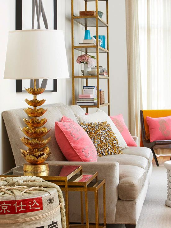 Gold coral cream living room home decor ideas gypsy soul Gold accessories for living room