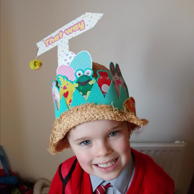 The boy with his Easter bonnet on for school today…