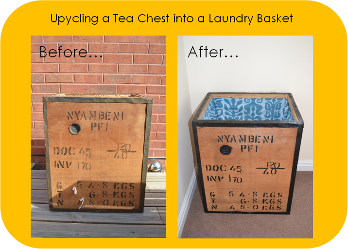 Upcycling a tea chest into a laundry basket